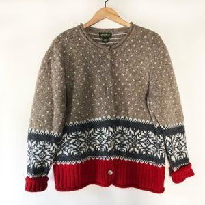 Eddie Bauer 100% Wool Cardigan Sweater
